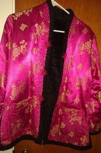 Vintage silk & lambswool coat, reversable.